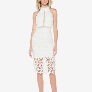 Bardot Gemma Lace Illusion Halter Dress Ivory